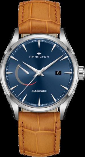 Herrenuhr Hamilton Jazzmaster Power Reserve 42mm mit blauem Zifferblatt und Armband aus Kalbsleder mit Krokodilprägung