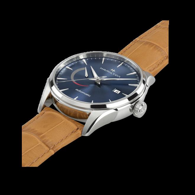 Herrenuhr Hamilton Jazzmaster Power Reserve 42mm mit blauem Zifferblatt und Armband aus Kalbsleder mit Krokodilprägung bei Brogle
