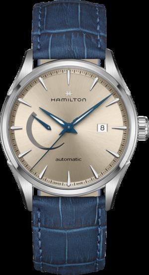 Herrenuhr Hamilton Jazzmaster Power Reserve 42mm mit champagnerfarbenem Zifferblatt und Armband aus Kalbsleder mit Krokodilprägung