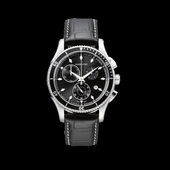 Herrenuhr Hamilton Jazzmaster Seaview Chrono Quarz 44mm mit schwarzem Zifferblatt und Armband aus Kalbsleder mit Krokodilprägung bei Brogle