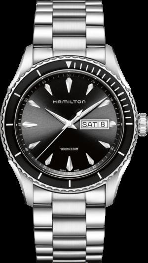 Herrenuhr Hamilton Jazzmaster Seaview Day/Date Quarz 42mm mit schwarzem Zifferblatt und Edelstahlarmband