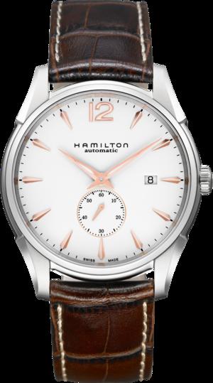 Herrenuhr Hamilton Jazzmaster Small Second 43mm mit weißem Zifferblatt und Armband aus Kalbsleder mit Krokodilprägung