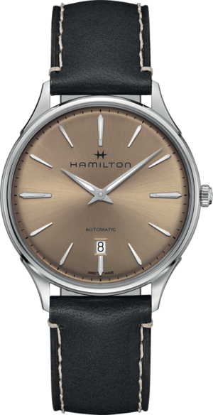 Armbanduhr Hamilton Jazzmaster Thinline Automatik 40mm mit roséfarbenem Zifferblatt und Kalbsleder-Armband