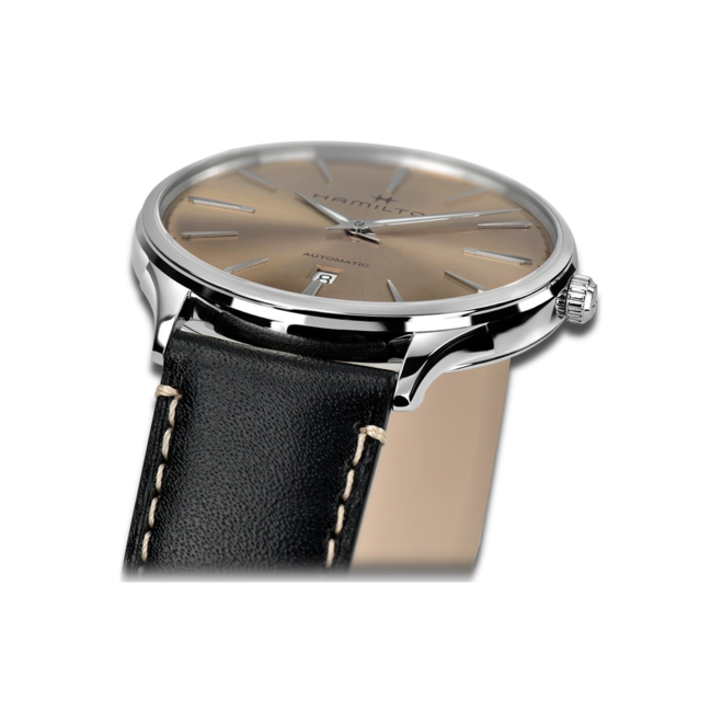 Armbanduhr Hamilton Jazzmaster Thinline Automatik 40mm mit roséfarbenem Zifferblatt und Kalbsleder-Armband bei Brogle