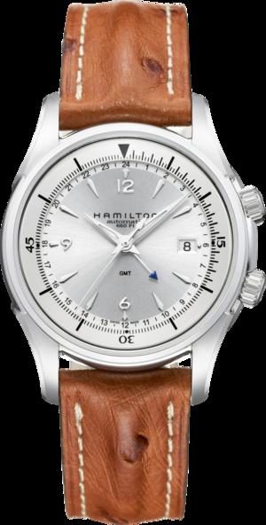 Herrenuhr Hamilton Jazzmaster Traveler GMT 2 Auto 42mm mit silberfarbenem Zifferblatt und Straußenleder-Armband