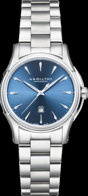 Damenuhr Hamilton Jazzmaster Viewmatic Auto 34mm mit blauem Zifferblatt und Edelstahlarmband
