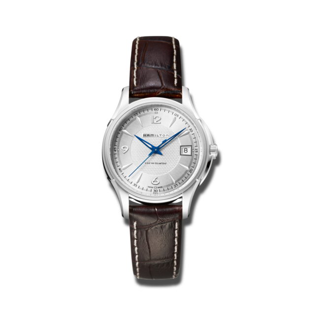 Armbanduhr Hamilton Jazzmaster Viewmatic Auto 37mm mit silberfarbenem Zifferblatt und Armband aus Kalbsleder mit Krokodilprägung bei Brogle