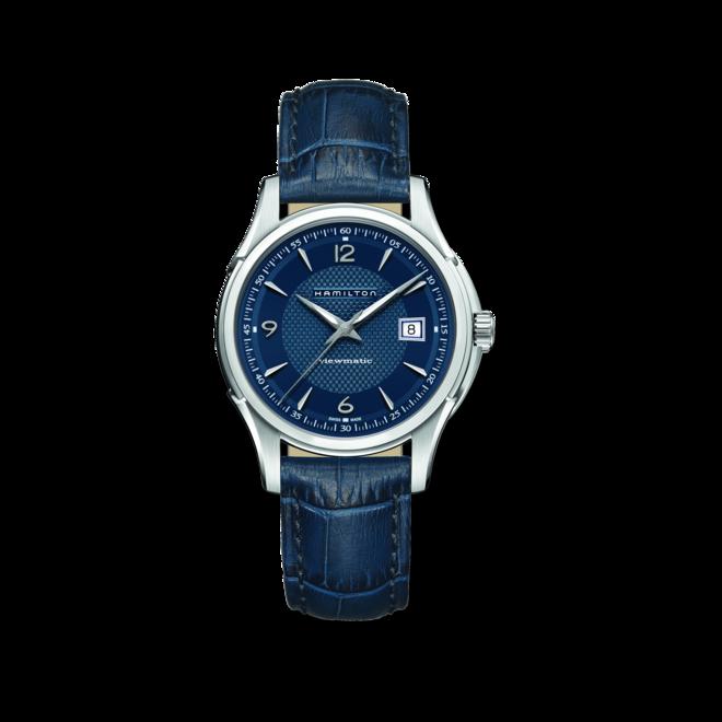 Herrenuhr Hamilton Jazzmaster Viewmatic Auto 40mm mit blauem Zifferblatt und Kalbsleder-Armband bei Brogle
