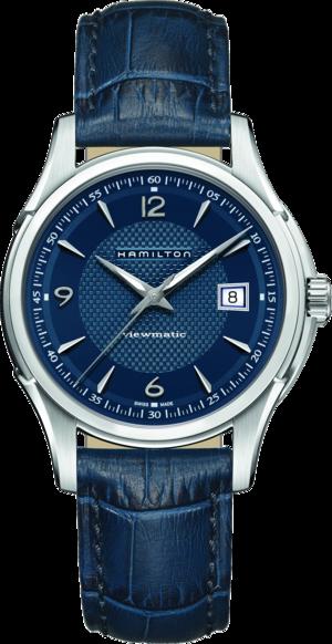 Herrenuhr Hamilton Jazzmaster Viewmatic Auto 40mm mit blauem Zifferblatt und Kalbsleder-Armband