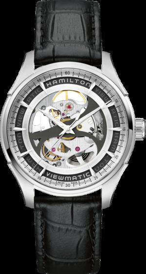 Herrenuhr Hamilton Jazzmaster Viewmatic Skeleton Gent 40mm mit transparentem Zifferblatt und Kalbsleder-Armband