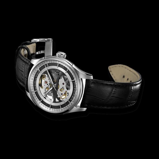 Herrenuhr Hamilton Jazzmaster Viewmatic Skeleton Gent 40mm mit transparentem Zifferblatt und Kalbsleder-Armband bei Brogle
