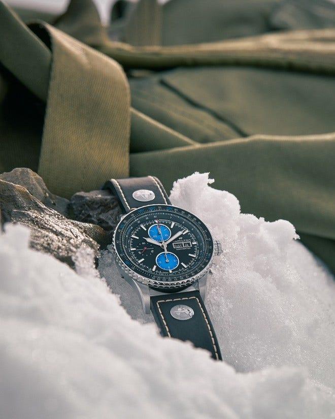 Herrenuhr Hamilton Khaki Aviation Converter Air Zermatt Limited Edition mit schwarzem Zifferblatt und Kalbsleder-Armband bei Brogle