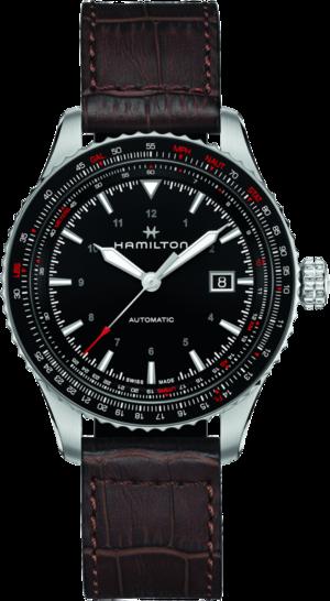 Herrenuhr Hamilton Khaki Aviation Converter Auto 42mm mit schwarzem Zifferblatt und Kalbsleder-Armband