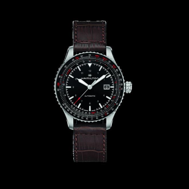 Herrenuhr Hamilton Khaki Aviation Converter Auto 42mm mit schwarzem Zifferblatt und Kalbsleder-Armband bei Brogle