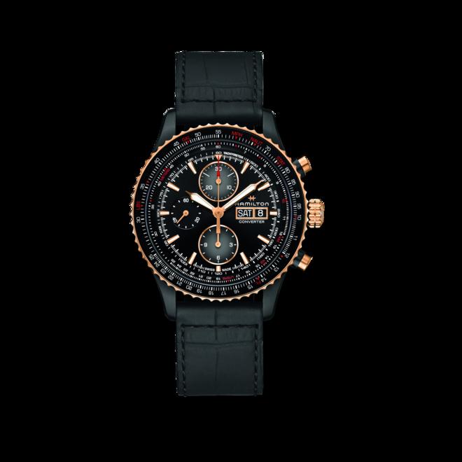 Herrenuhr Hamilton Khaki Aviation Converter Autochrono 44mm mit schwarzem Zifferblatt und Kalbsleder-Armband bei Brogle