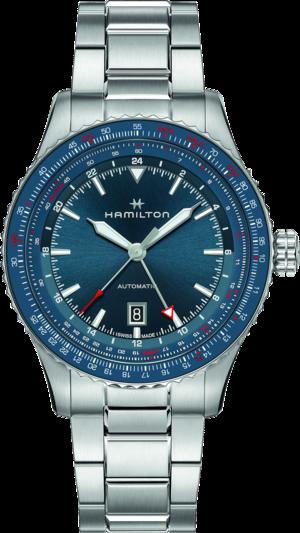Herrenuhr Hamilton Khaki Aviation GMT Auto 44mm mit blauem Zifferblatt und Edelstahlarmband