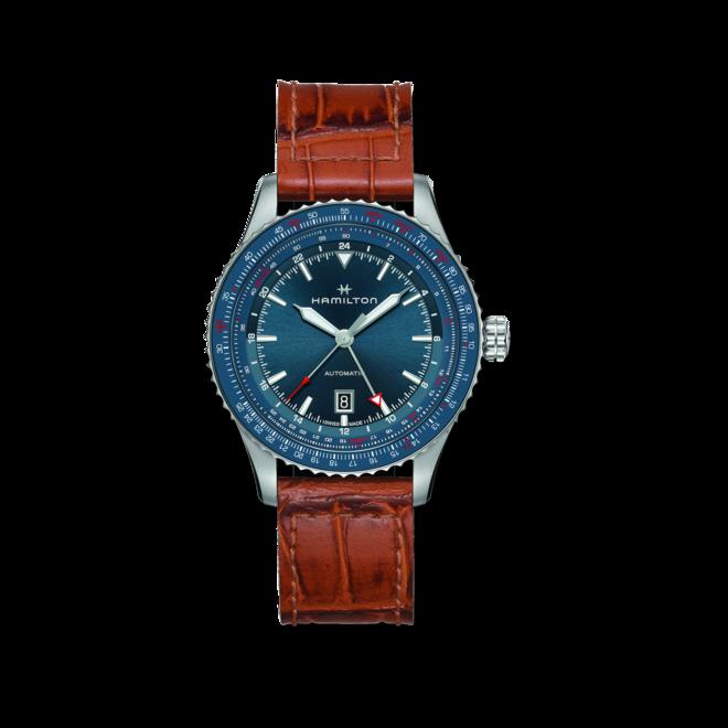 Herrenuhr Hamilton Khaki Aviation GMT Auto 44mm mit blauem Zifferblatt und Kalbsleder-Armband bei Brogle