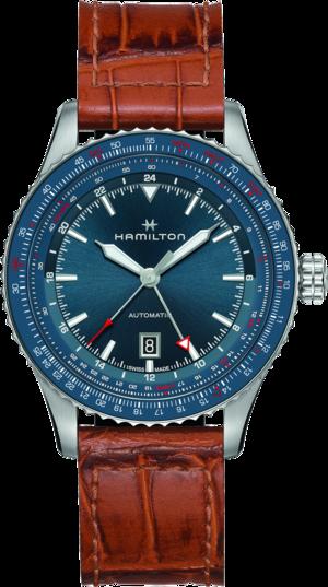 Herrenuhr Hamilton Khaki Aviation GMT Auto 44mm mit blauem Zifferblatt und Kalbsleder-Armband