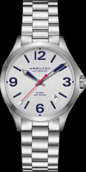 Armbanduhr Hamilton Khaki Air Race 38mm mit silberfarbenem Zifferblatt und Edelstahlarmband