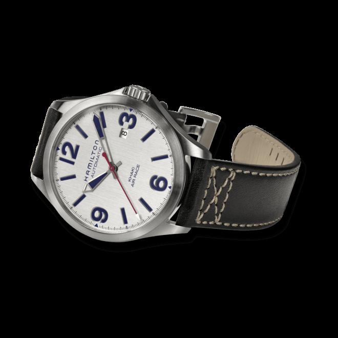 Herrenuhr Hamilton Khaki Air Race 42mm mit silberfarbenem Zifferblatt und Kalbsleder-Armband bei Brogle