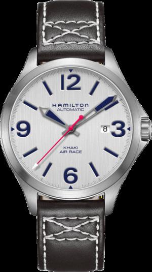 Herrenuhr Hamilton Khaki Air Race 42mm mit silberfarbenem Zifferblatt und Kalbsleder-Armband