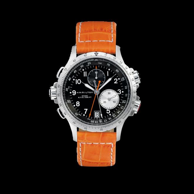 Herrenuhr Hamilton Khaki ETO Chrono Quarz 42mm mit schwarzem Zifferblatt und Kalbsleder-Armband bei Brogle