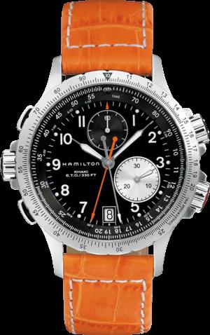 Herrenuhr Hamilton Khaki ETO Chrono Quarz 42mm mit schwarzem Zifferblatt und Kalbsleder-Armband