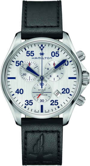 Herrenuhr Hamilton Khaki Pilot Air Race Chrono 44mm mit silberfarbenem Zifferblatt und Rindsleder-Armband