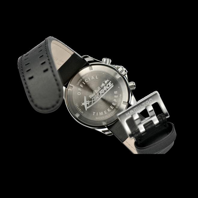 Herrenuhr Hamilton Khaki Pilot Air Race Chrono 44mm mit silberfarbenem Zifferblatt und Rindsleder-Armband bei Brogle