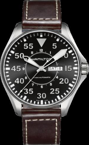 Herrenuhr Hamilton Khaki Pilot Automatik 46mm mit schwarzem Zifferblatt und Kalbsleder-Armband