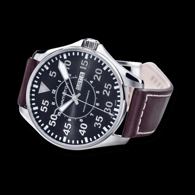 Herrenuhr Hamilton Khaki Pilot Automatik 46mm mit schwarzem Zifferblatt und Kalbsleder-Armband bei Brogle