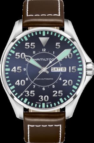 Herrenuhr Hamilton Khaki Pilot Automatik 46mm mit blauem Zifferblatt und Kalbsleder-Armband