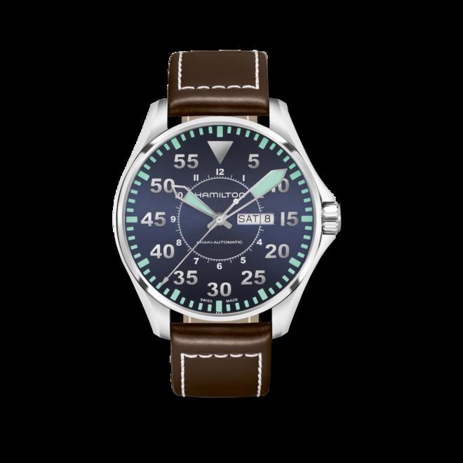 Herrenuhr Hamilton Khaki Pilot Automatik 46mm mit blauem Zifferblatt und Kalbsleder-Armband bei Brogle