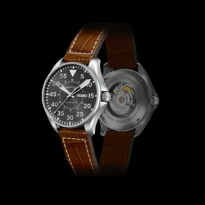 Herrenuhr Hamilton Khaki Pilot Automatik 46mm mit schwarzem Zifferblatt und Armband aus Kalbsleder mit Krokodilprägung bei Brogle