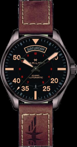 Herrenuhr Hamilton Khaki Pilot Day/Date Automatik 42mm mit schwarzem Zifferblatt und Rindsleder-Armband