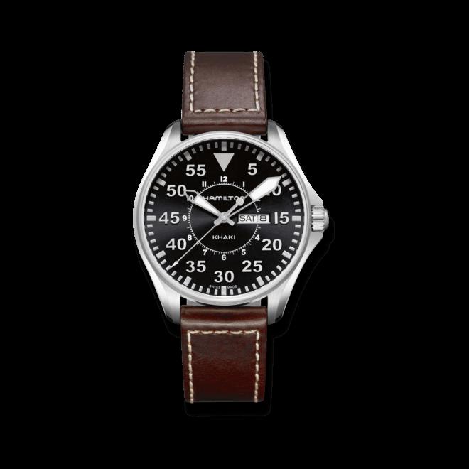 Herrenuhr Hamilton Khaki Pilot Quarz 42mm mit schwarzem Zifferblatt und Kalbsleder-Armband bei Brogle