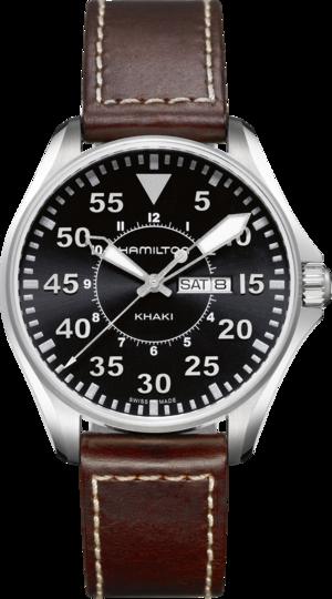 Herrenuhr Hamilton Khaki Pilot Quarz 42mm mit schwarzem Zifferblatt und Kalbsleder-Armband