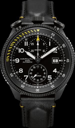 Herrenuhr Hamilton Khaki Takeoff Auto Chrono 46mm mit schwarzem Zifferblatt und Kalbsleder-Armband