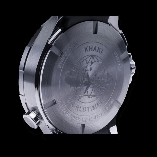 Herrenuhr Hamilton Khaki Worldtimer Quarz Chrono 45mm mit schwarzem Zifferblatt und Kautschukarmband bei Brogle