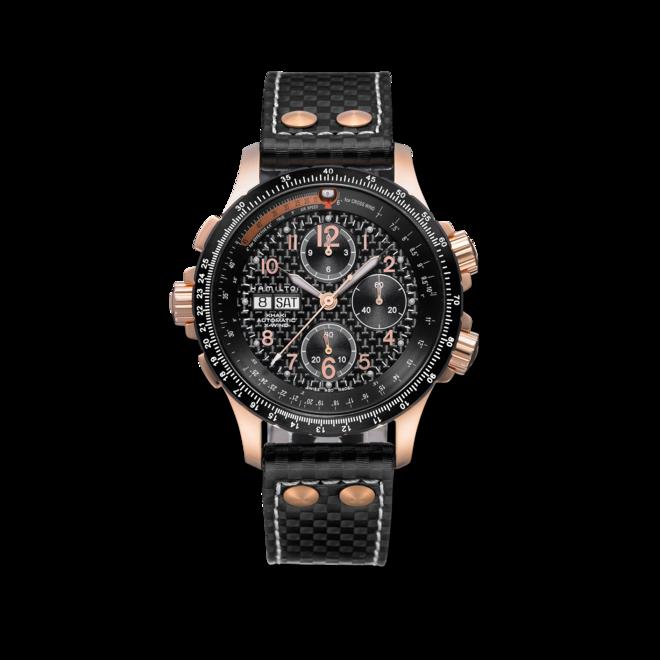 Herrenuhr Hamilton Khaki X-Wind Auto Chrono 44mm mit schwarzem Zifferblatt und Kalbsleder-Armband bei Brogle