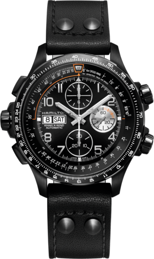 Herrenuhr Hamilton Khaki X-Wind Auto Chrono 45mm mit schwarzem Zifferblatt und Kalbsleder-Armband