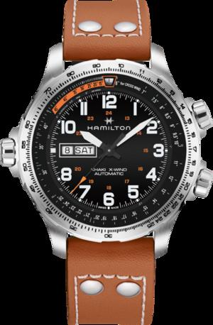 Herrenuhr Hamilton Khaki X-Wind Day/Date 45mm mit schwarzem Zifferblatt und Kalbsleder-Armband