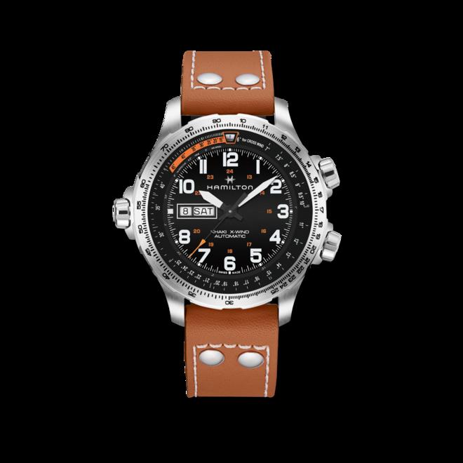 Herrenuhr Hamilton Khaki X-Wind Day/Date 45mm mit schwarzem Zifferblatt und Kalbsleder-Armband bei Brogle