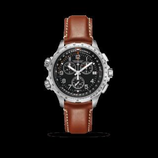 Hamilton Herrenuhr Khaki X-Wind GMT Quartz Chronograph 46mm H77912535