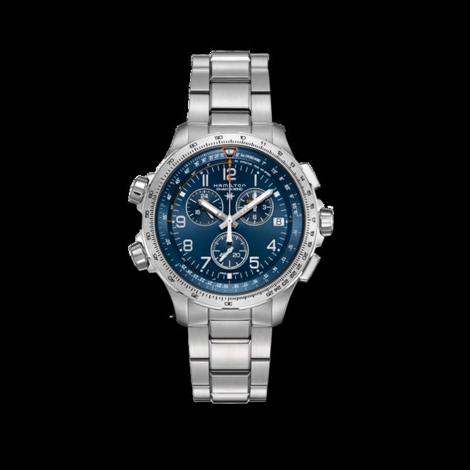 Herrenuhr Hamilton Khaki X-Wind GMT Quarz Chrono 46mm mit blauem Zifferblatt und Edelstahlarmband bei Brogle