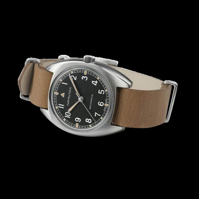 Herrenuhr Hamilton Pilot Pioneer Mechanical 36mm mit schwarzem Zifferblatt und Rindsleder-Armband bei Brogle