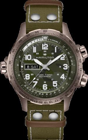 Herrenuhr Hamilton Khaki Aviation X-Wind Day/Date 45mm mit grünem Zifferblatt und Textilarmband