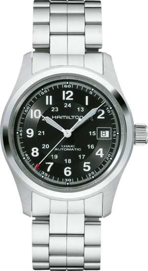 Armbanduhr Hamilton Khaki Field Automatik 38mm mit schwarzem Zifferblatt und Edelstahlarmband