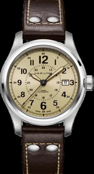 Herrenuhr Hamilton Khaki Field Automatik 40mm mit beigefarbenem Zifferblatt und Kalbsleder-Armband