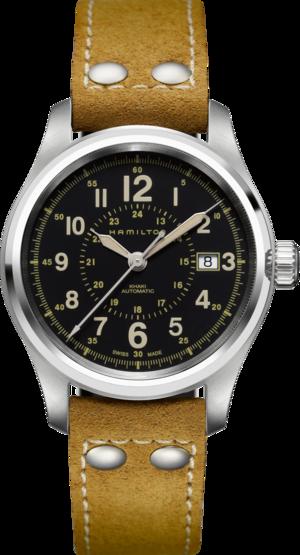 Herrenuhr Hamilton Khaki Field Automatik 40mm mit schwarzem Zifferblatt und Kalbsleder-Armband